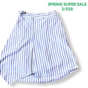 Blue and White Striped Skirt in 100% Cotton